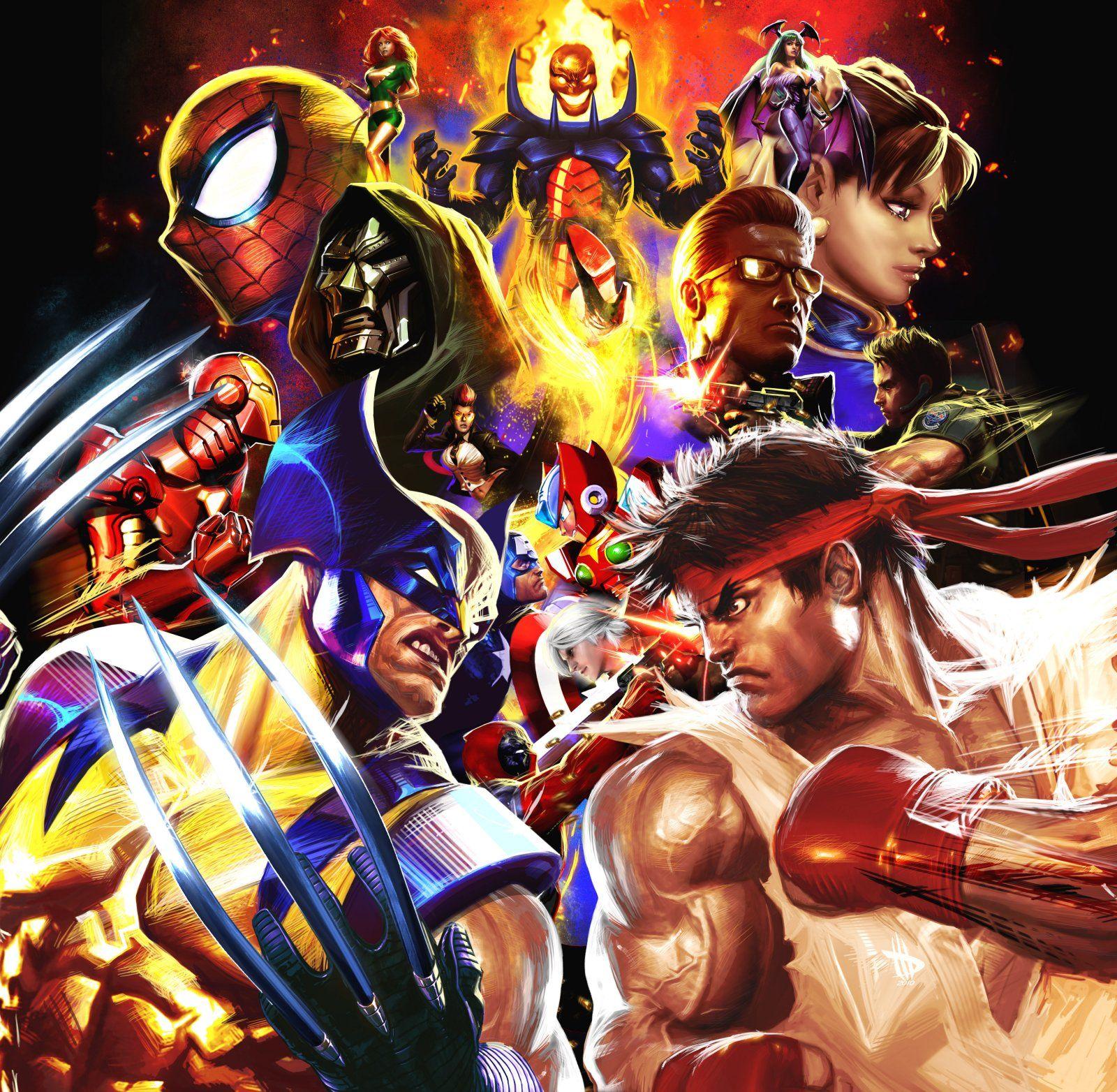 Marvel Vs Capcom 3 Fan Art Looks Like An Epic Movie Poster News Gametyrant Marvel Vs Capcom Marvel Vs Marvel