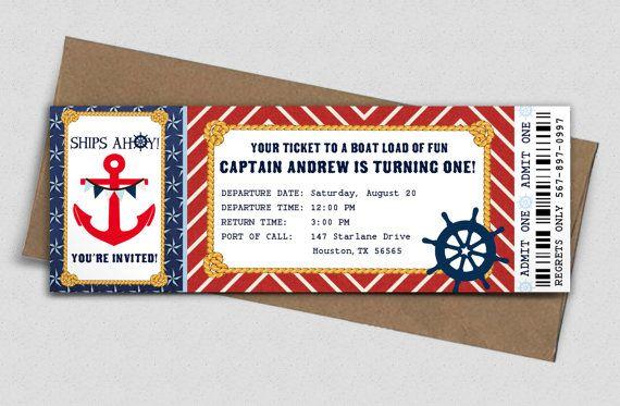 Invitación náutica cumpleaños fiesta Boarding Pass por AdorePaperCo
