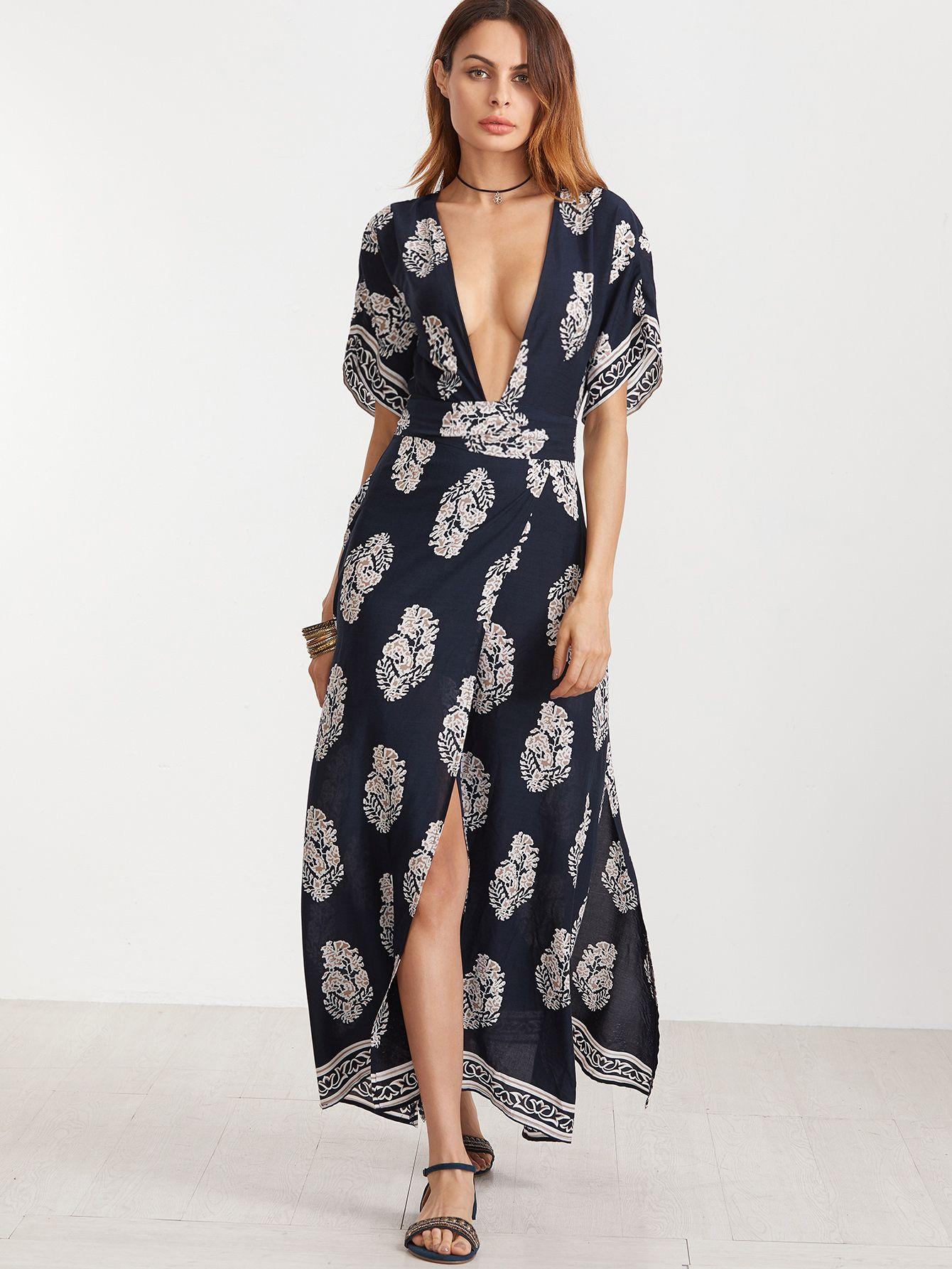 Navy Vintage Print Plunge Neck Open Back Kimono Wrap Dress Vestiti  Avvolgenti 96fe07652