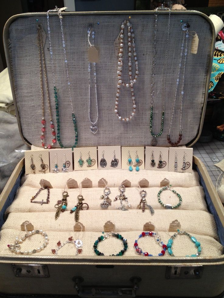 Jewelry Booth Display Ideas   jewelry booth ideas   This is a vintage suitcase I turned into a ...