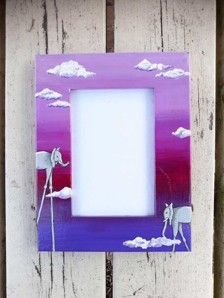 Wooden Picture Photo Frame Salvador Dali Elephants Clouds Purpoe Pink Surreal Dream Surrealism Home Gift Hand Paint Wooden Picture Hand Painted Frame