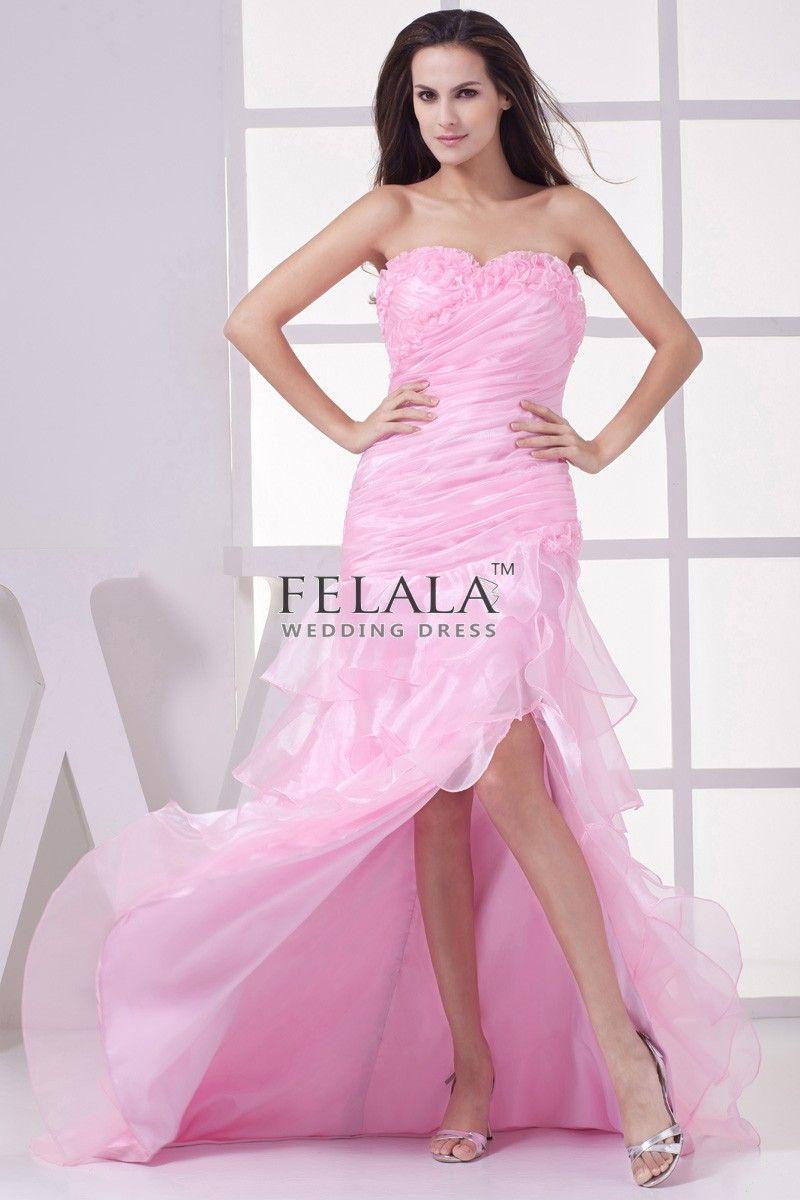 Candy Pink Long Organza Sweetheart Split Front Prom Dress