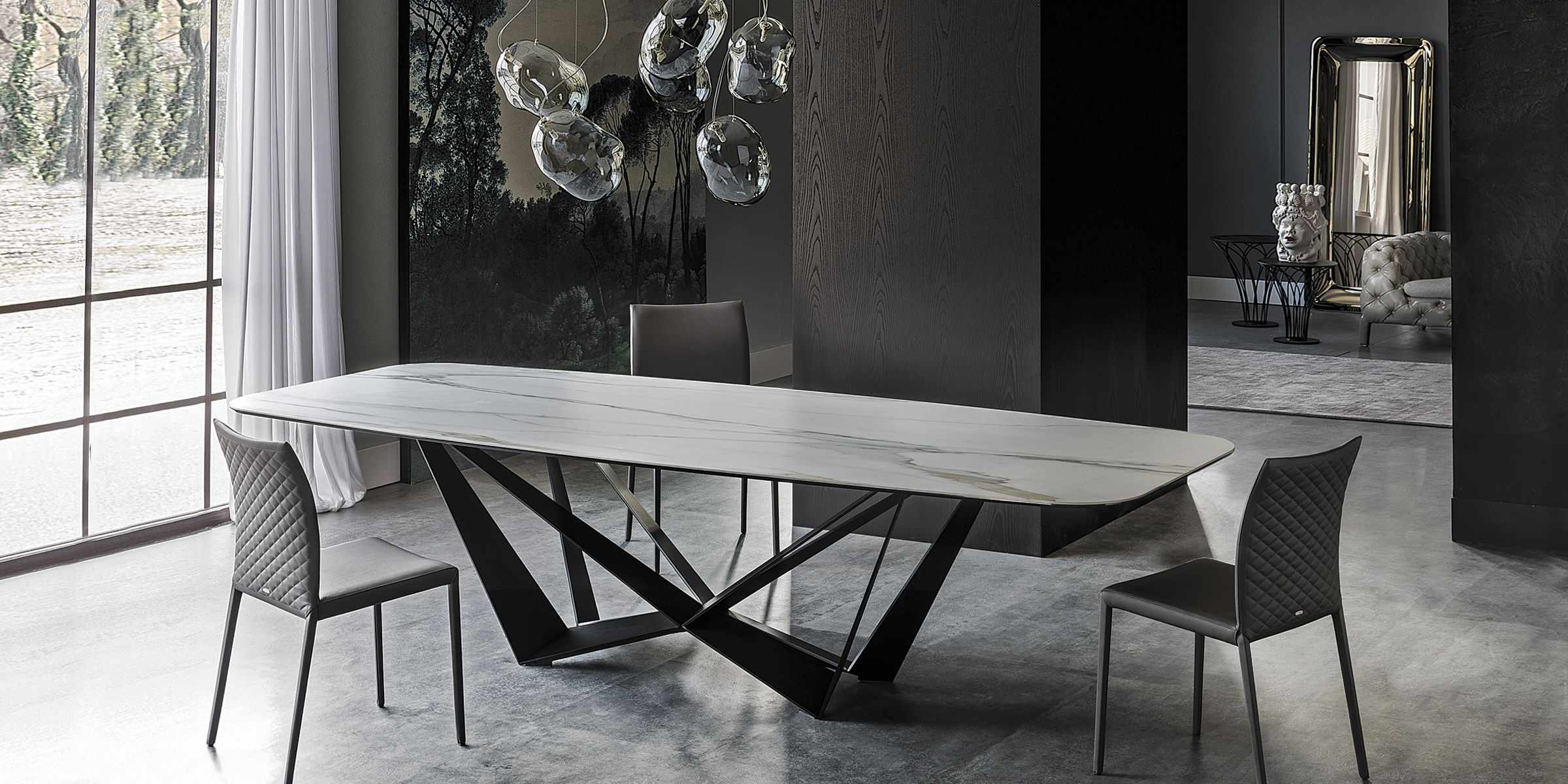 Cattelan Italia Table Scorpio Keramik Chairs Norma Couture