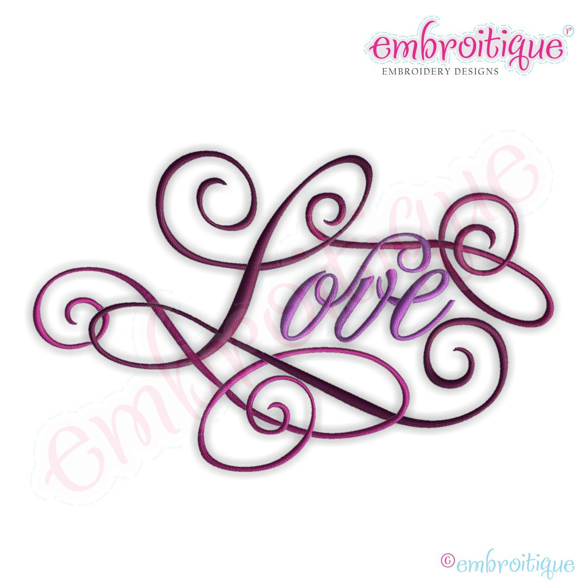 All products love calligraphy script embroidery design