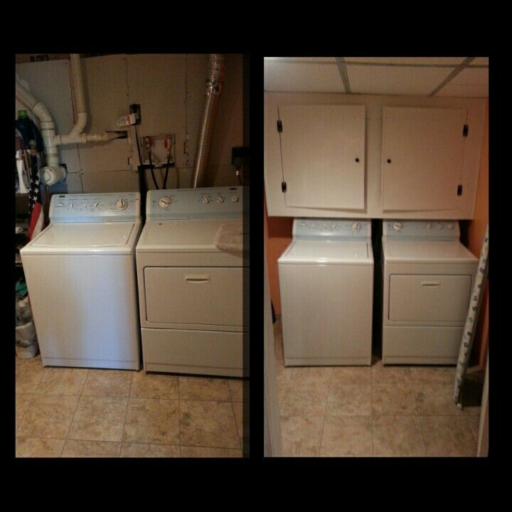Cupboard To Hide The Pipes Behind Washer And Dryer Hiding Hidden Laundry