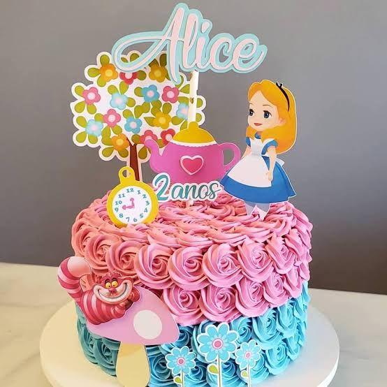 Topo De Bolo Alice No Pais Das Maravilhas Para Imprimir Alice No