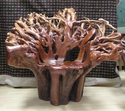 Natural Tree Root Made Into A Chair Furniture Rustic