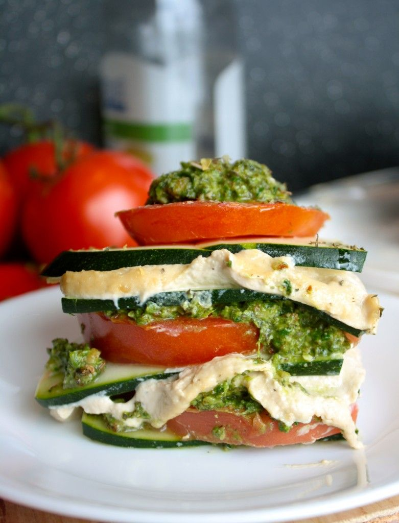 Raw vegan lasagne - courgette, cashew cheese, basil pesto, and tomatoes