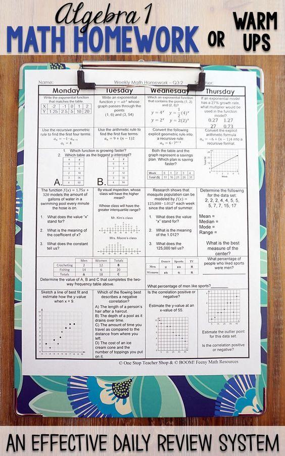 Algebra 1 Spiral Review & Quizzes Algebra 1 Homework
