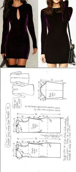 Vestido justo manga longa | Sewing patterns, Patterns and Sewing ideas