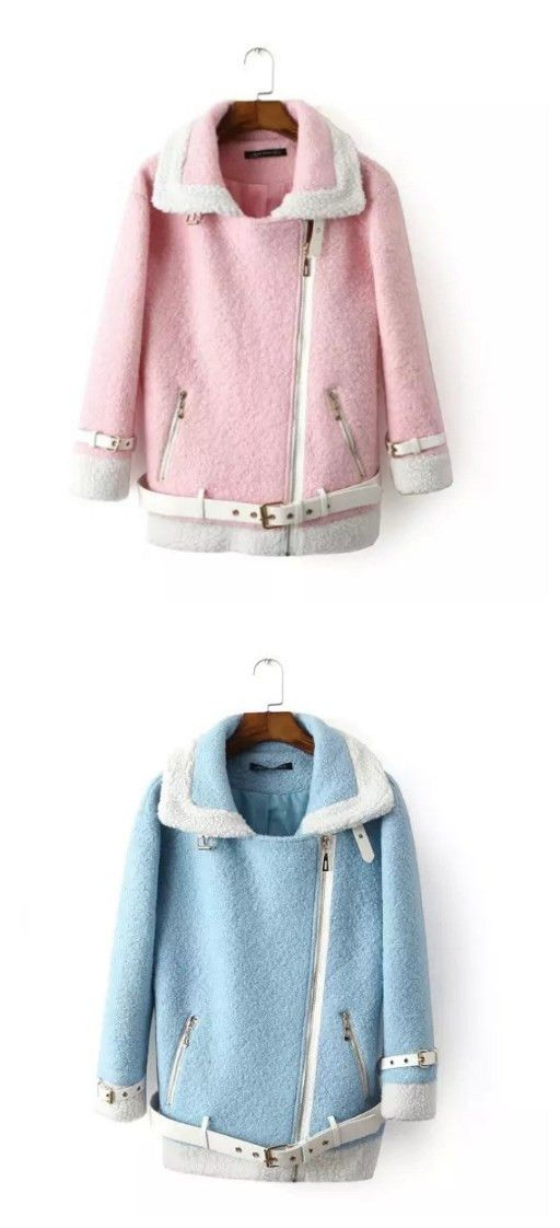 Pink & Blue Woolen Hem Sleeve Belt Coat ,get them at yoyomelody.com,you won't regret.#yoyomelody