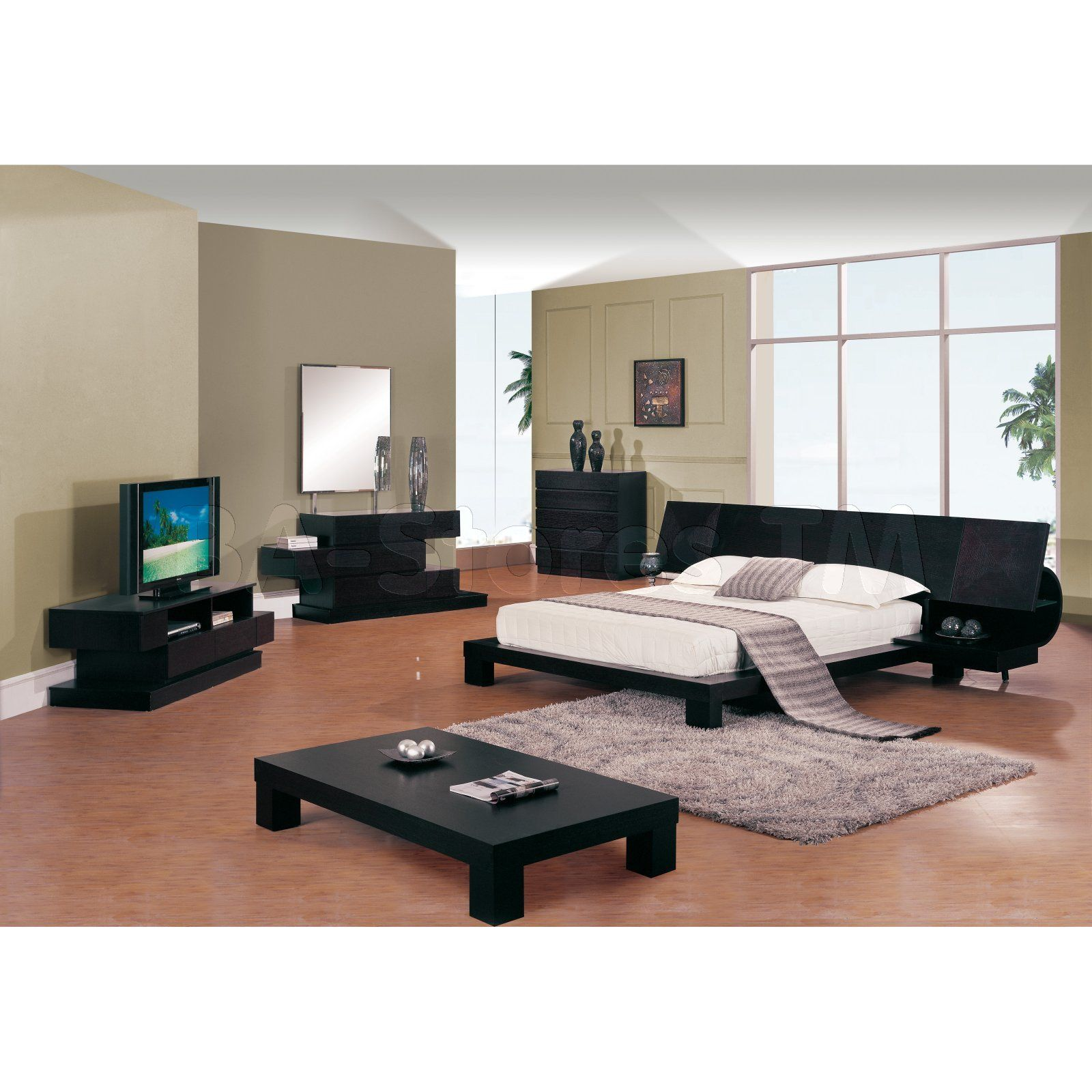 Delightful Soho Wenge Bedroom Set (Bed, Dresser, Mirror, 2 Nightstands)   Global