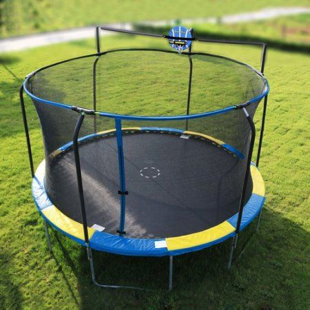 Bounce Pro 14 Trampoline With Enclosure And Basketball Hoop Blue