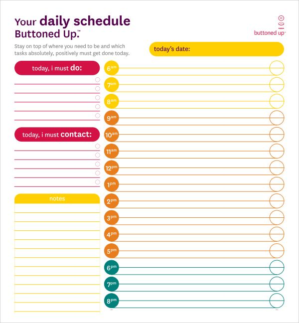 Daily Planner  Weekly Planner  Work Schedule Template