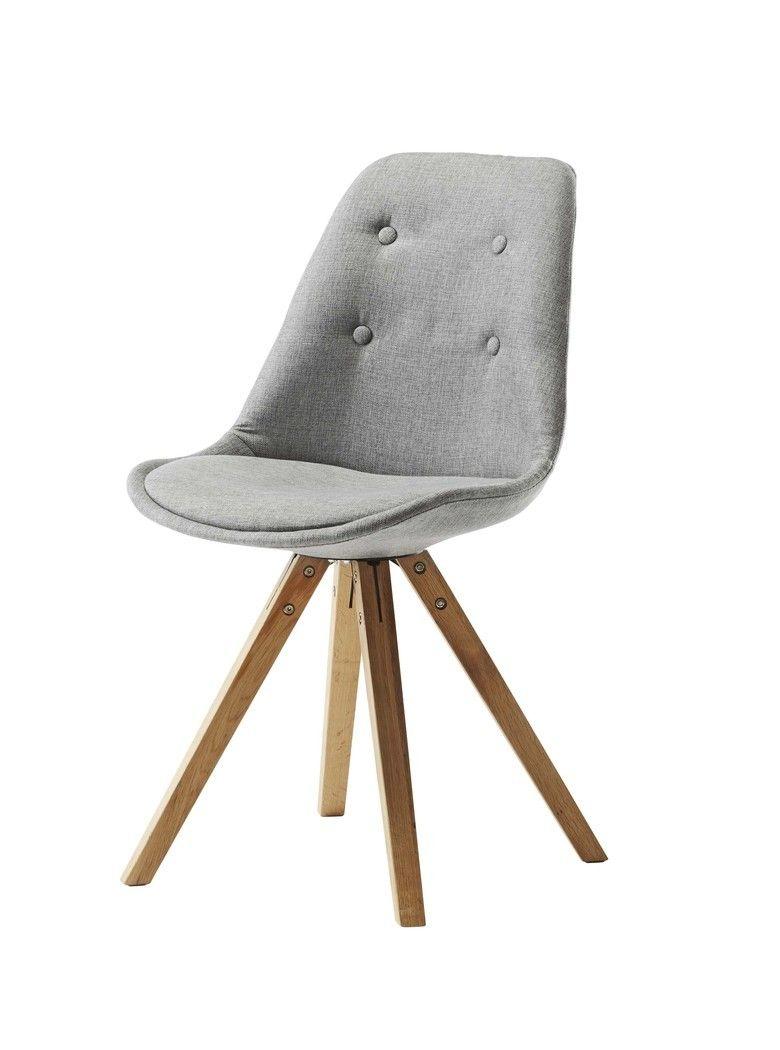B: 49,5 x H: 51 x D: 55 cm Moderne spisestuestol monteret med slidstærkt stof i 100% polyester farve grå. Polstret indbygget sæde i samme stof. Let at kombiner