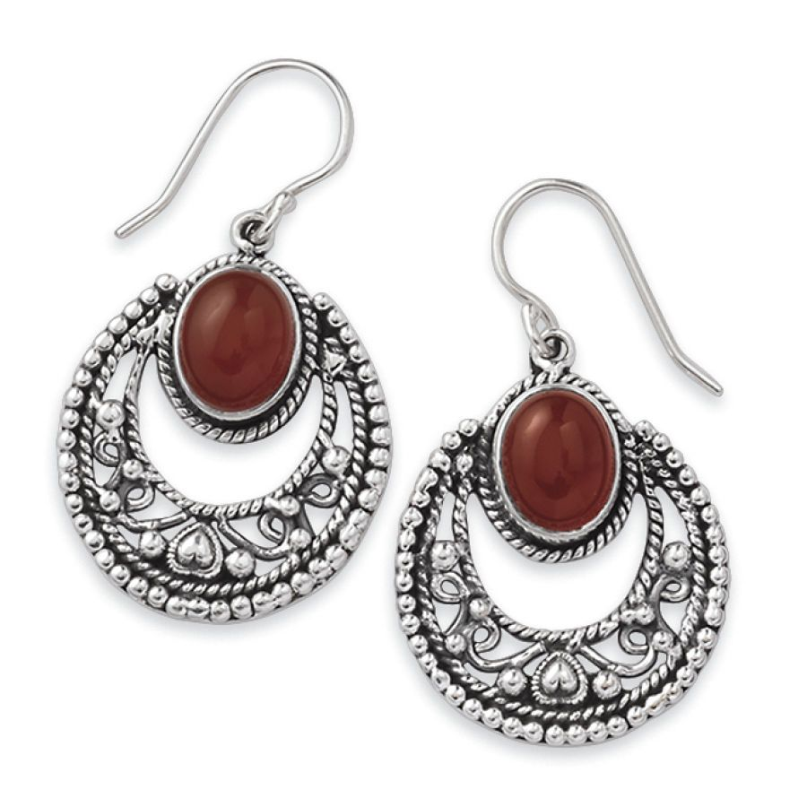 Carnelian and Antiqued Silverplate Earrings - Earrings, Necklaces, Rings, Bracelets, Pendants and More - Unique Jewelry at Affordable Prices...