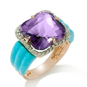 Heritage Gems Amethyst, Sleeping Beauty Turquoise and Diamond 14K Rose Gold Ring at HSN.com