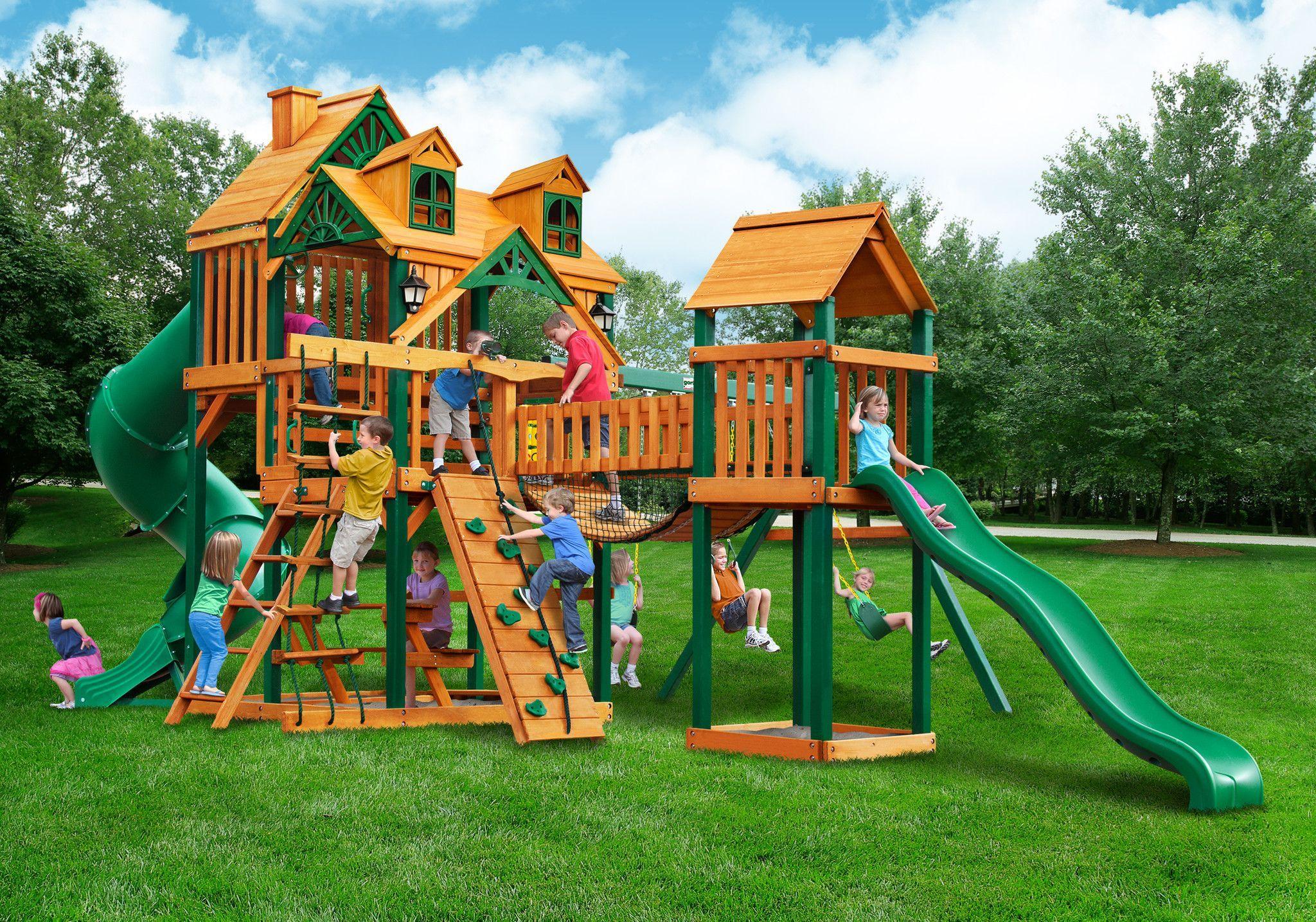 Gorilla Playsets Treasure Trove 1 w/Malibu Wood Roof Swing Set
