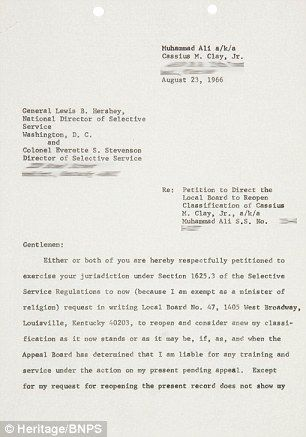Rare letter from Muhammad Ali seeking exemption from Vietnam on sale - new letter to minister format australia