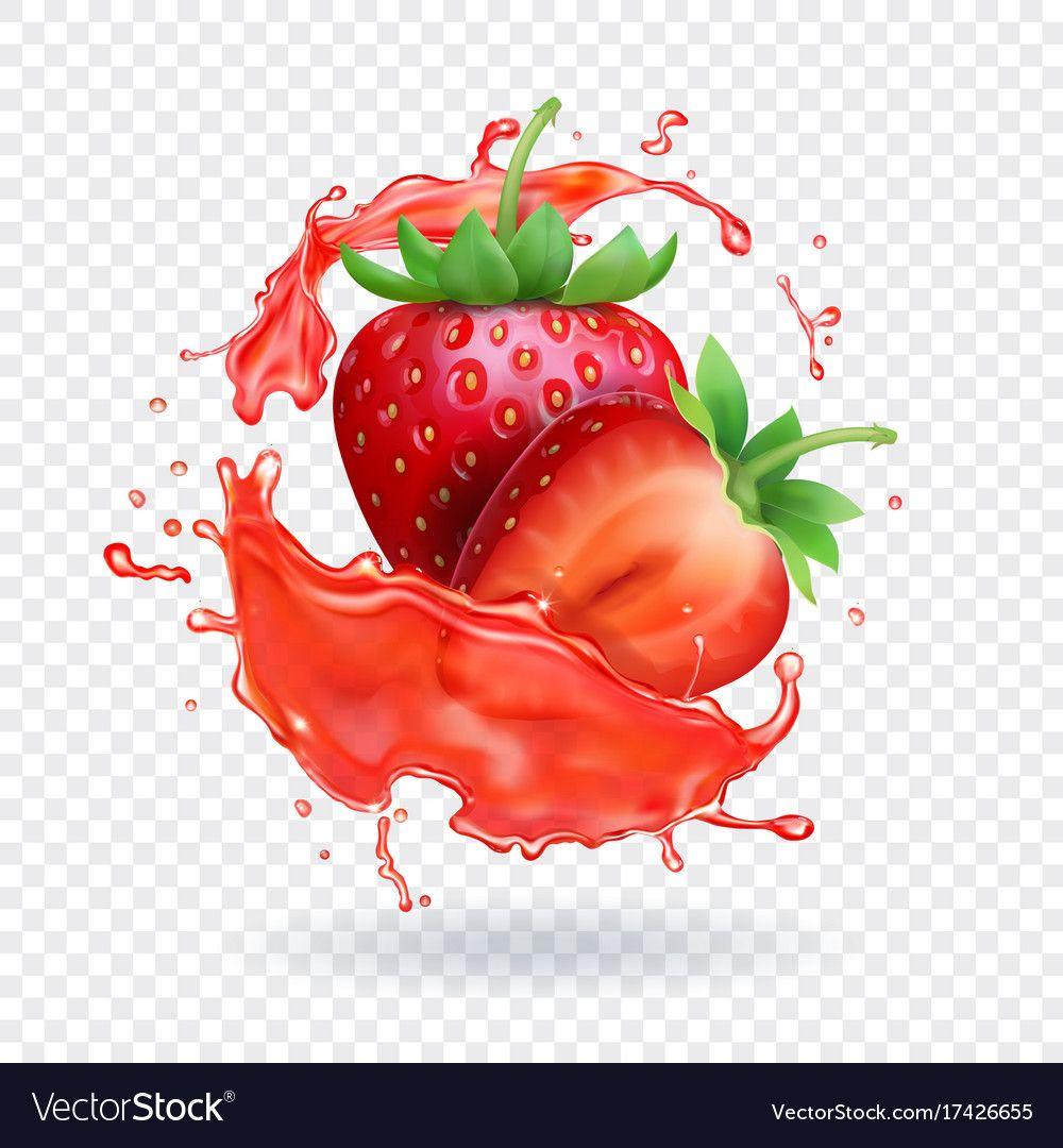Strawberry Realistic Juice Fresh Fruit Splash Vector Image Affiliate Juice Fresh Strawberry Real Fruit Splash Fruit Packaging Flower Phone Wallpaper