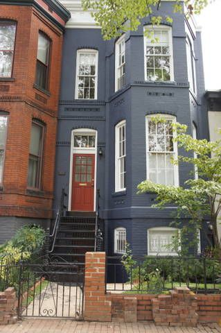 Blue With White Trim Dark Red Door House Paint Exterior