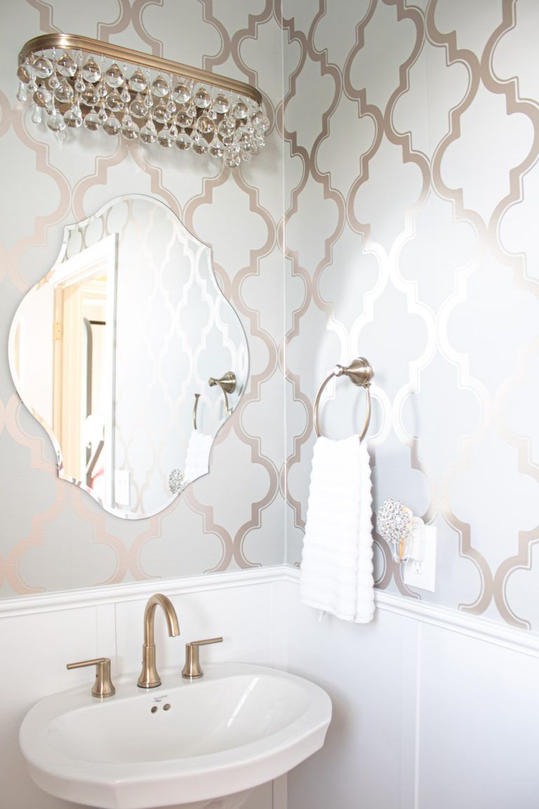 Glam Powder Room Inspiration and Reveal ~ The Lived-In Look -   19 beauty Wallpaper lights ideas