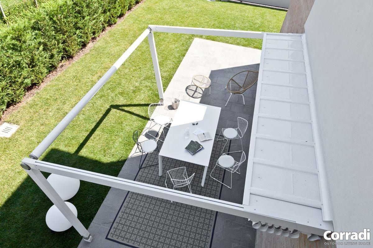 Coberti pergotenda move vista superior techo móvil impact abierto