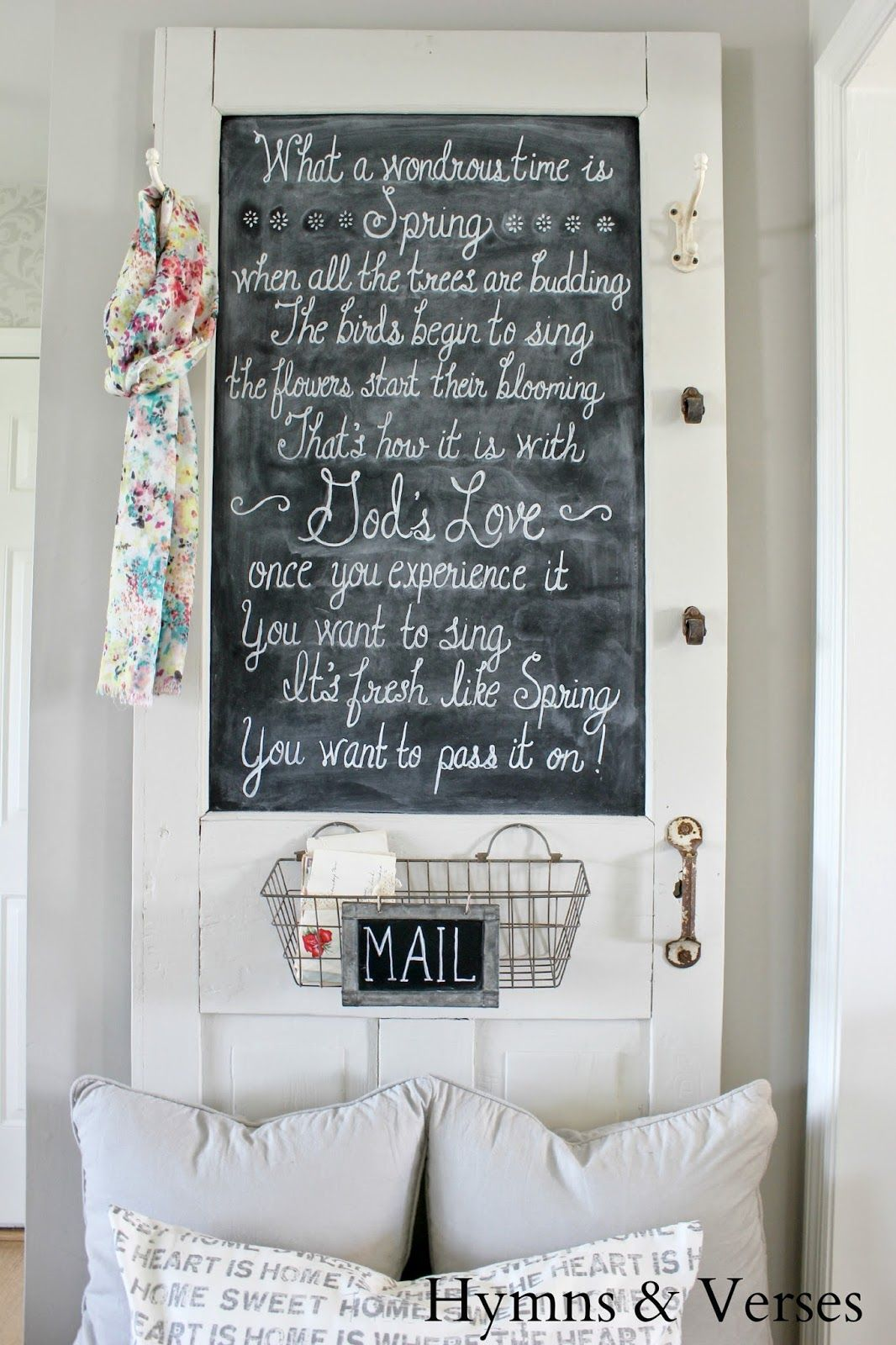 Parade of Homes Tour ~ Hymns and Verses - At The Picket Fence... An old door with a chalkboard sign in it