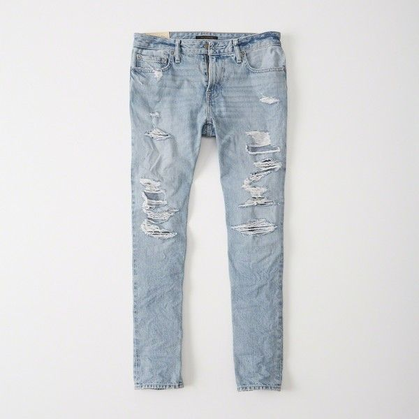 Midrise Straight Leg Jean with Rips and Distressing - Light destroy Abercrombie & Fitch 1GvpQSL