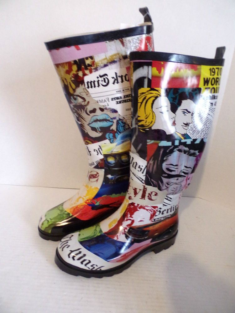 Details about Rainboots Faces Pattern Henry Ferrera New York Rain ...