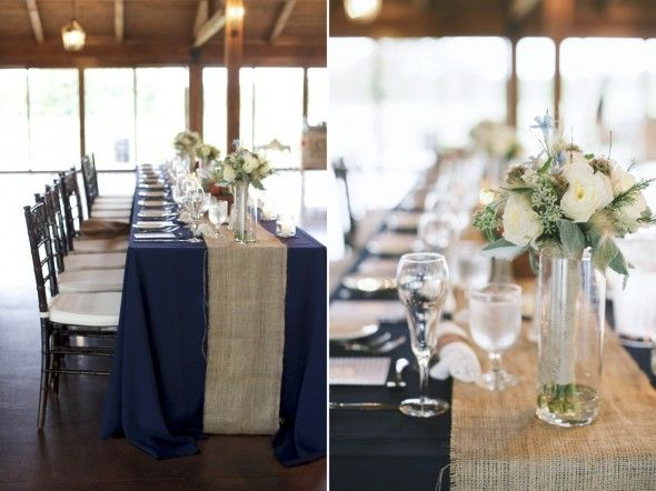Love The Navy Table Cloth And The Burlap Runner Wedding Table