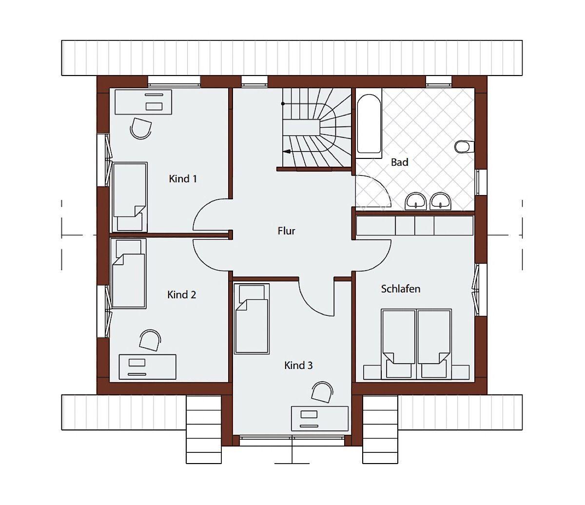 Fertighaus Grundriss Obergeschoss mit 3 Kinderzimmer ...