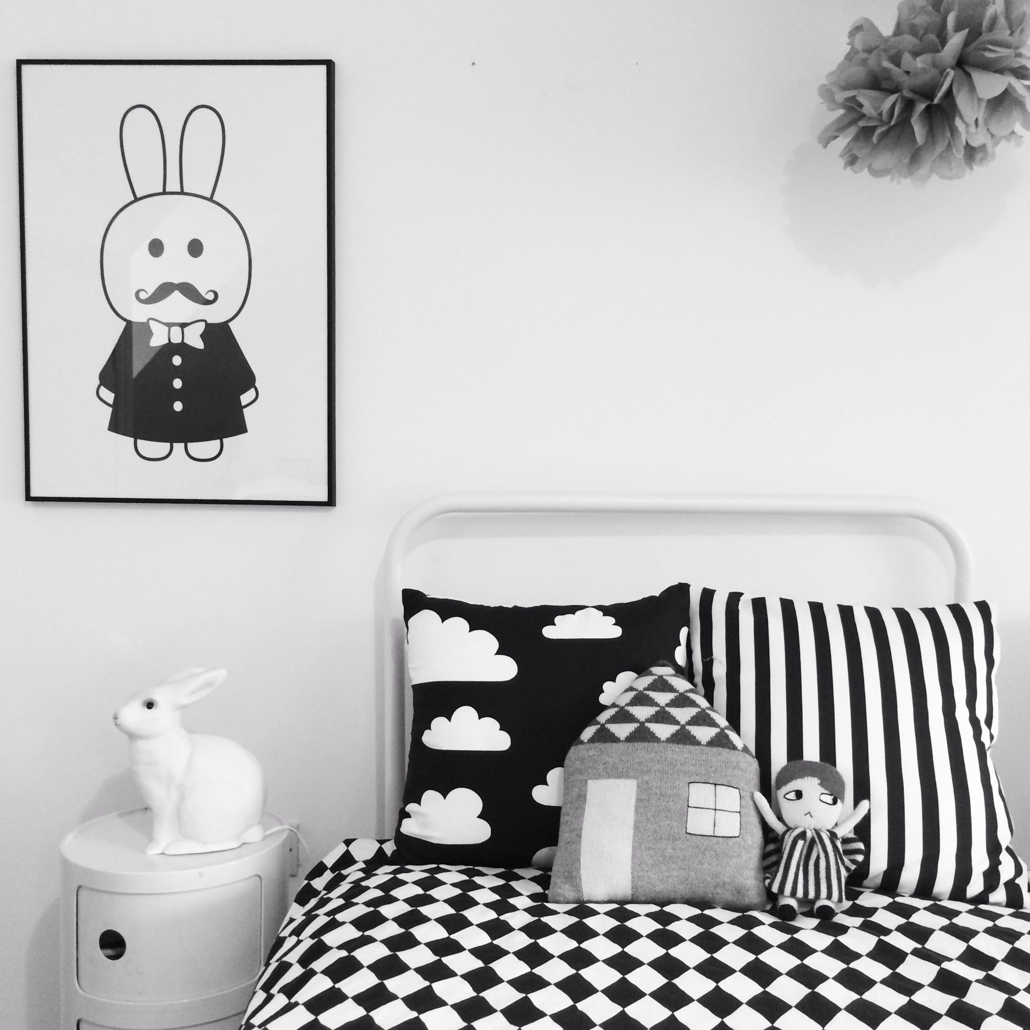 Black White Kids Room MiniWilla Print Beau Loves