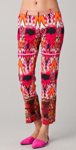 Preppy take on print pants for summer. Perfectly paired with a cropped blazer...