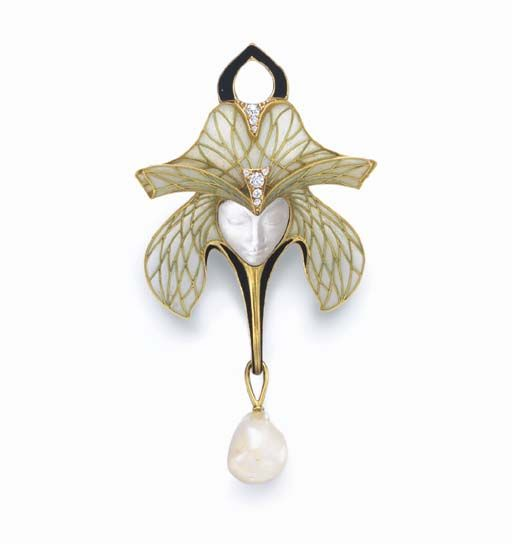 AN ART NOUVEAU MOONSTONE, DIAMOND, PEARL AND ENAMEL BROOCH, BY PAUL LIENARD Designed as a carved moonstone female face, enhanced by an opalescent and pale green plique-à-jour enamel and green gold headdress, with old mine-cut diamond and matte-finished black enamel detail, suspending a freshwater pearl drop, mounted in 18k gold, circa 1905, with French assay marks Signed P. Lienard for Paul Liénard