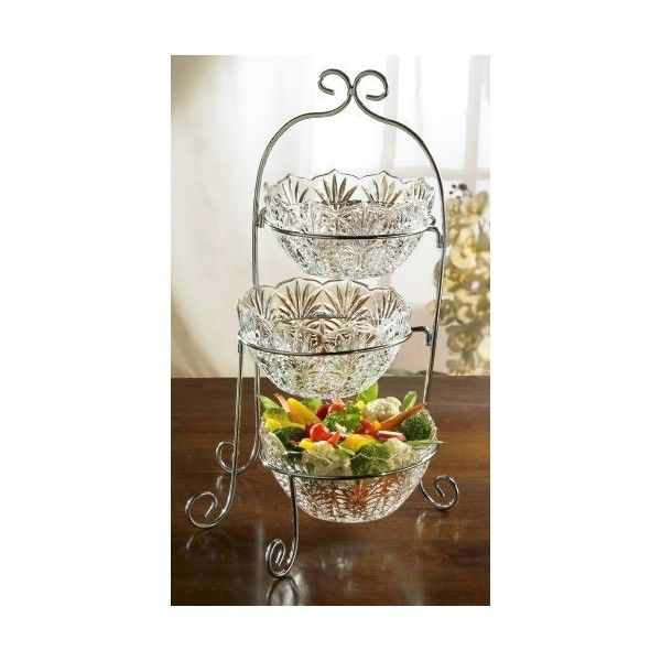 Fifth Avenue Crystal Portico 3-Tier Buffet Server (£40) found on Polyvore