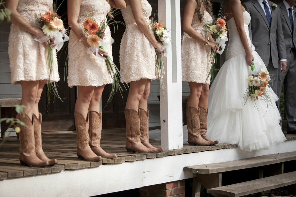 Bridesmaids Dresses With Cowboy Boots Catering Rustic Wedding Guide Als
