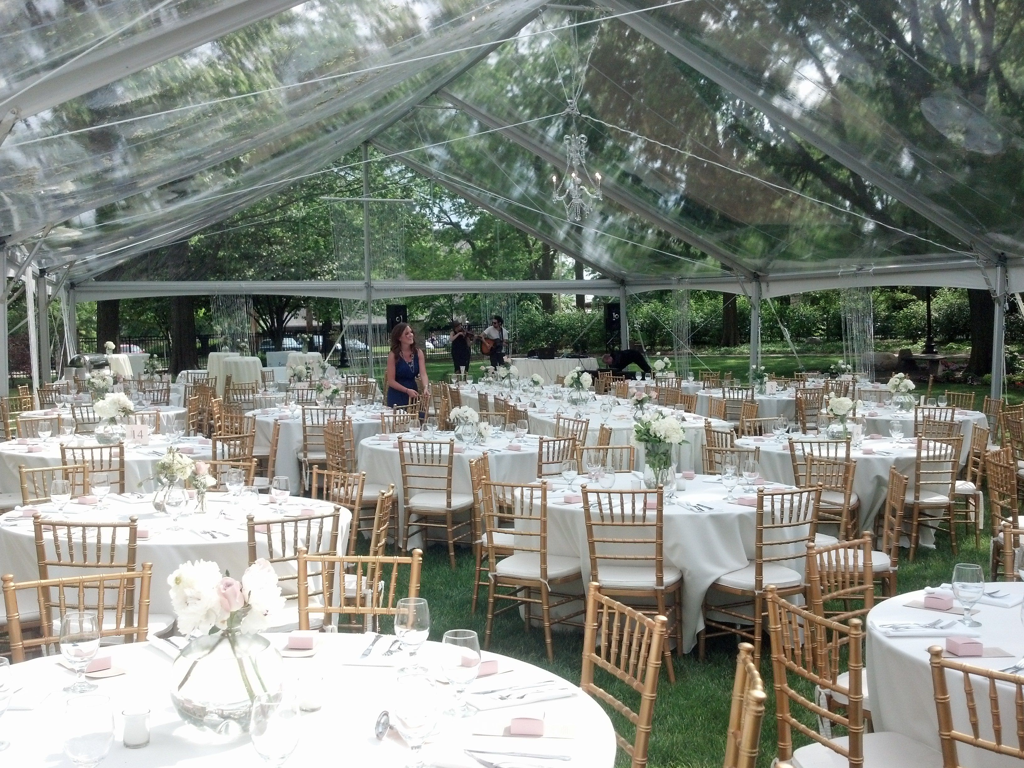 40x80 Jumbo Trac Clear Span Clear Top Tent w Ivory linens and