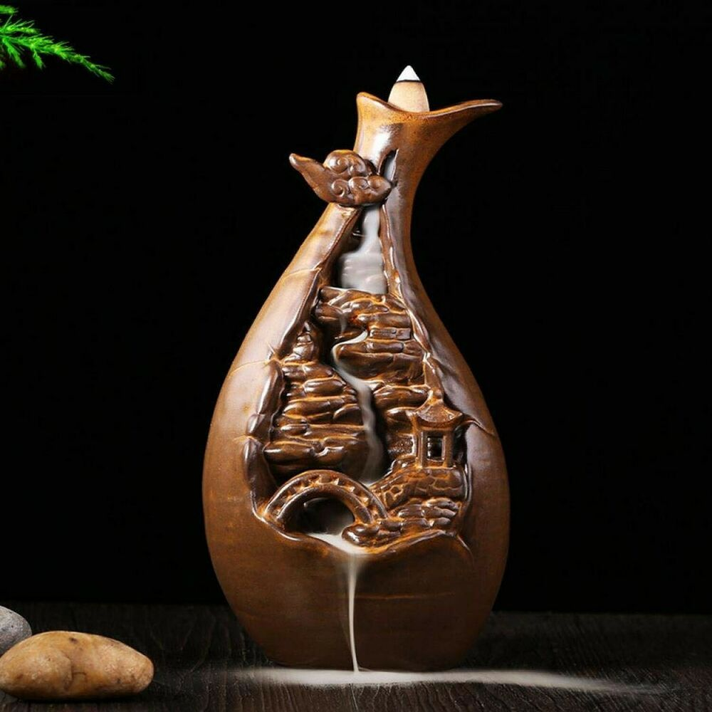 Ceramic Buddhist Backflow Incense Burner Smoke Cone Holder Handmade Decor Gifts
