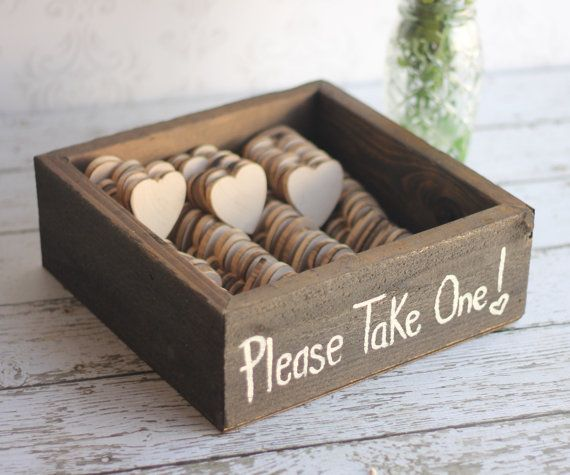Rustic Wedding Favors Wood Heart Magnets Vintage Inspired Shabby ...