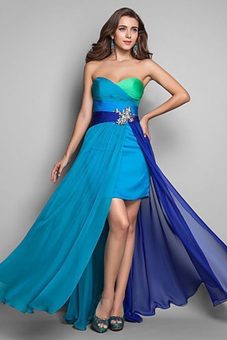 High Low Colorful Prom Gown Sweetheart Beaded Long Evening Dresses ...