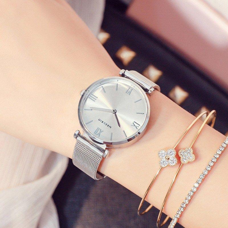 Relogio Feminino Fashion Rose Gold Women Bracelet Watches Mash Band Ladies Quartz Watch Female Clock Gift .