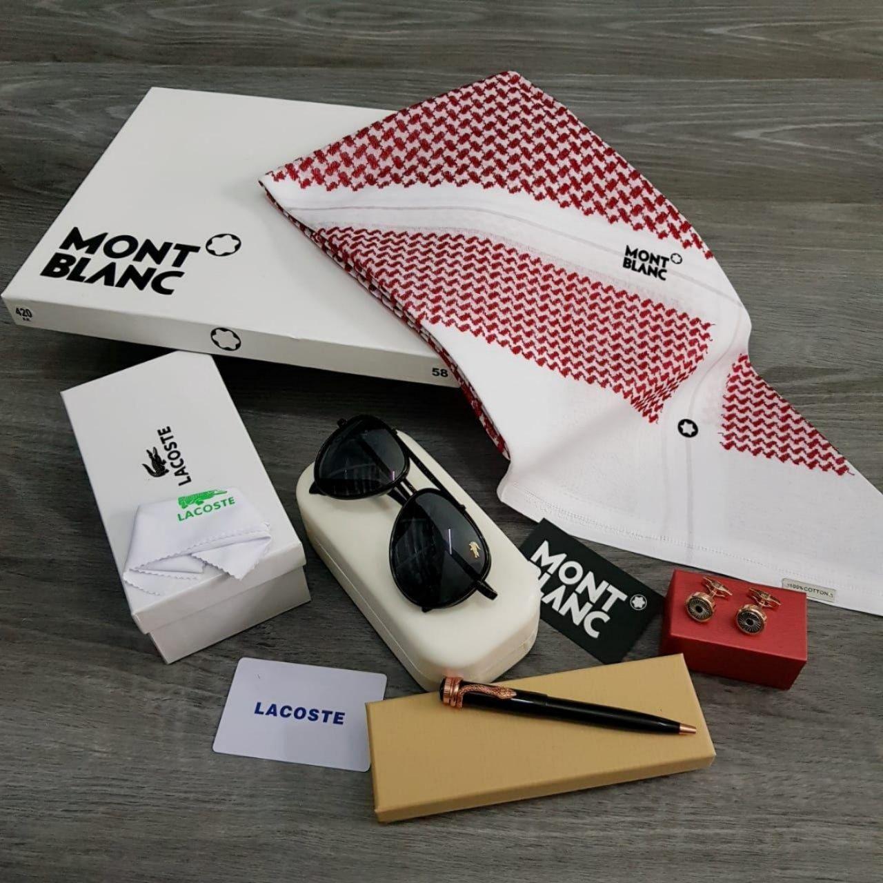 شماغ مونت بلانك فخم بمقاسات مختلفه مع نظارات و قلم و كبك هدايا هنوف Sunglasses Case Mont Blanc Sunglasses