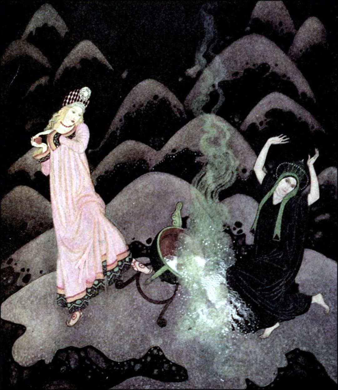 Art by Edmund Dulac (1916) from EDMUND DULAC'S FAIRY BOOK 'Fairy Tales of the Allied Nations.'