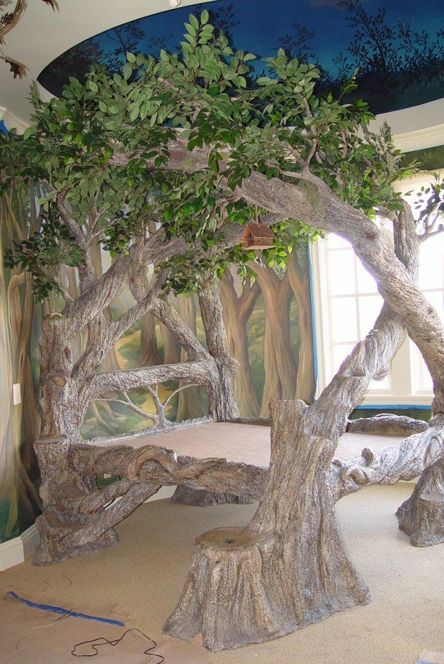 Awesome bed from tree... I want this for my son room because his theme is a jungle I wish I knew where to buy this or had some one to build this.