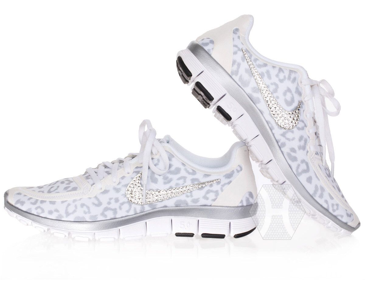 new concept bdb6e 5f5d0 norway new sizes womens nike free 5.0 v4 white wolf cheetah leopard with  swarovski crystal details