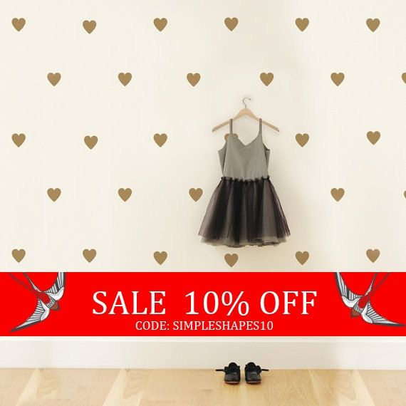 Sale  Gold Heart Decals Nursery Decor Kids Decals by SimpleShapes