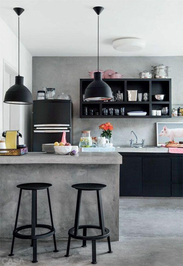 wand betonoptik esszimmer einrichten pendelleuchten Exchange - pendelleuchte für küche