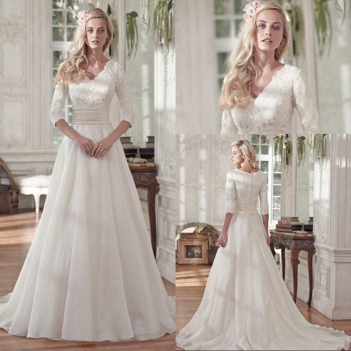 Cheap Modest Lace 3 4 Sleeves V Neck Chiffon Princess Wedding Dresses Vintage Bridal Wedding