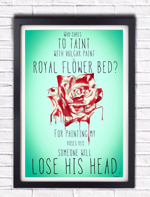 Alice In Wonderland Painted Rose Queen Of Hearts By